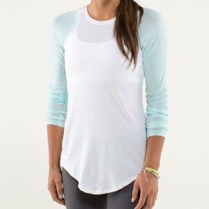LULULEMON Tiffany blue and white long sleeve Sz12